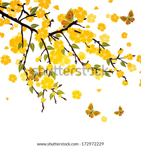 Branch with butterflies - vector