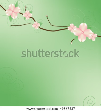 Branch with Dogwood looking blossoms. - stock vector