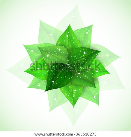 branch with fresh green leaves sparkles. Vector Illustration - stock vector