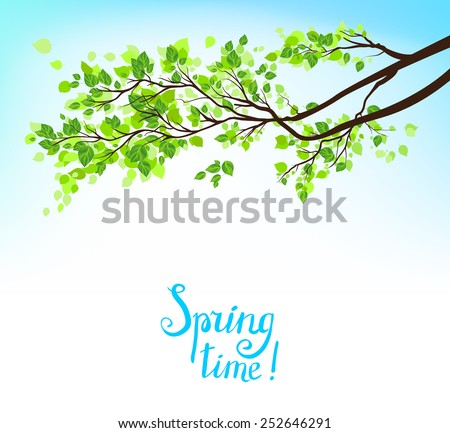 Branch with green leaves under blue summer sky. - stock vector
