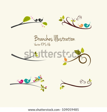 Branches art illustrations - stock vector