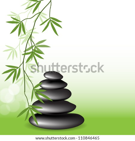 Branches bamboo and stones, spa background for design