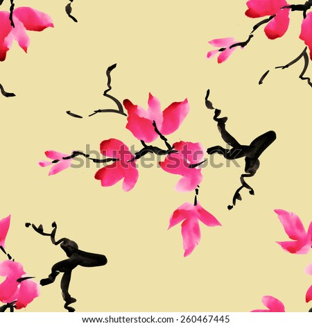 Branches of blooming magnolia flowers, spring watercolor seamless pattern on beige background vector illustration