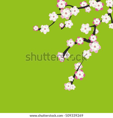 branches of cherry blossoms on a green background. A decorative jewelry item Japanese spring garden.