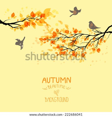 Branches with autumn leaves and birds on yellow background. Copy space - stock vector