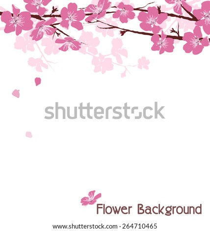 Branches with pink flowers isolated on white background - stock vector