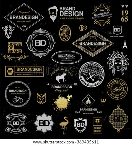 BRAND DESIGN ELEMENTS INDUSTRIAL STYLE. Brand elements such as logo for business, labels, ribbons, symbols...Editable vector illustration file. - stock vector