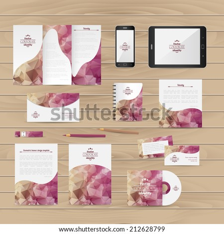 Brand identity company style template demonstrated on mobile devices office supplies and stationery for businesses - stock vector