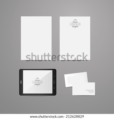 Brand identity company style template demonstrated on mobile devices office supplies and stationery for businesses