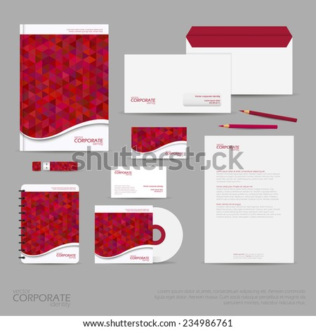 red office supplies brand identity company style template demonstrated stock vector