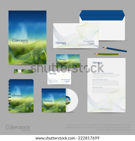 Brand identity company style template demonstrated on office supplies and stationery for businesses. Consist of business cards, A4 letterheads, folder, pencils, envelopes and notebook. - stock vector