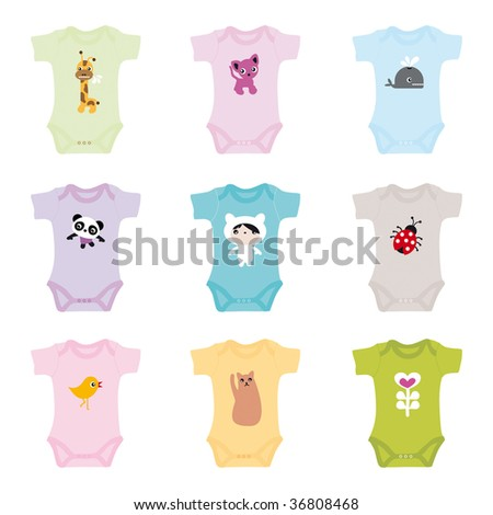 Brand new born baby clothes for boys and girls - in vector - stock vector