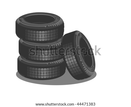 Brand new tires on a white background - stock vector