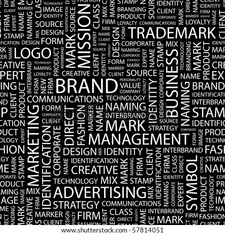 BRAND. Seamless vector background. Illustration with different association terms. - stock vector