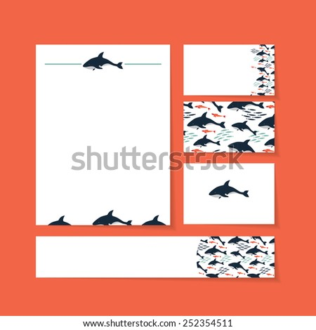 brand template contains the killer whale, fish, herring - stock vector