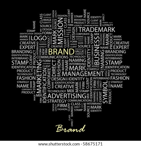 BRAND. Word collage on black background. Illustration with different association terms. - stock vector