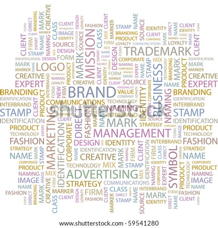 BRAND. Word collage on white background. Illustration with different association terms. - stock vector