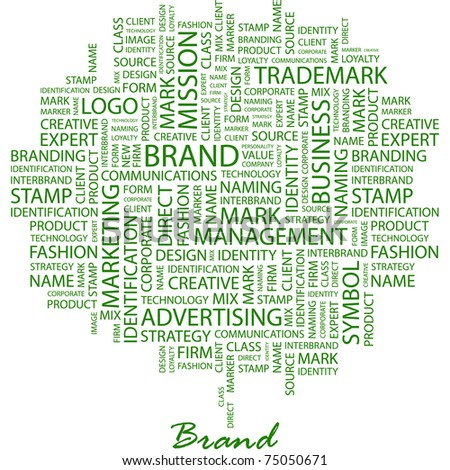 BRAND. Word collage on white background. Vector illustration. Illustration with different association terms. - stock vector