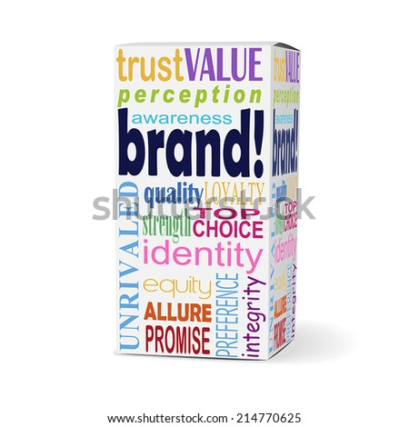 brand word on product box with related phrases - stock vector