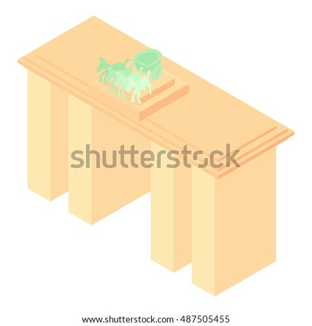 Brandenburg gate in Germany icon in cartoon style isolated on white background. Landmark symbol vector illustration
