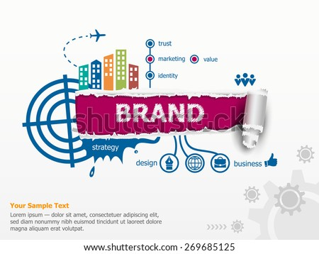 Branding concept for efficiency and breakthrough paper hole with ragged edges with a space for your message.  - stock vector