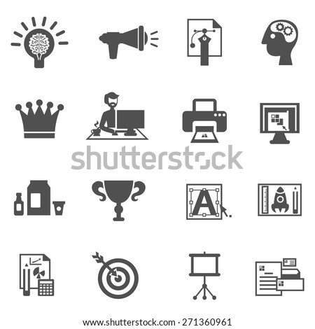 Branding icons black set with brainstorm creative idea development symbols isolated vector illustration - stock vector