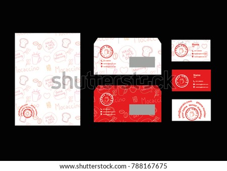branding identity mock up template/stationary (envelope,name card, letterhead), Design element flat vector illustration for food store,for restaurant or seafood website,Flat design poster, coupon gift