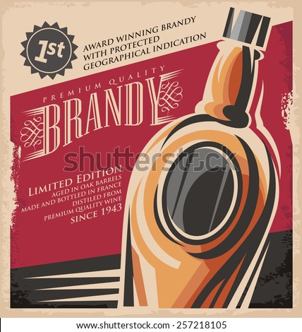 Brandy vintage poster design template. Retro drink creative printed media concept. Vector flyer or banner background layout. No gradients or effects, just fill colors. Old paper texture. - stock vector
