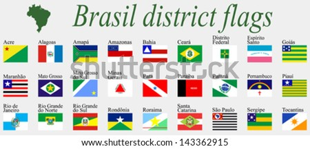 brasil districts flags complete collection against gray background, abstract vector art illustration - stock vector