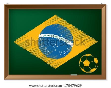Brasil flag and soccerball drawn on chalkboard - stock vector