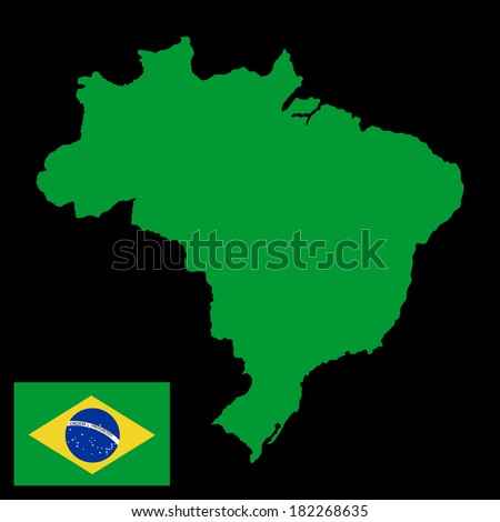 Brasil high detailed green vector map and flag isolated on black background. Silhouette illustration.  - stock vector