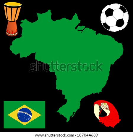 Brasil high detailed green vector map and flag isolated on black background. Silhouette illustration. Soccer bal, drum and Macaw parrot  had, symbols of Brazil. ara head. - stock vector