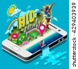 Brasil Rio Summer Games Infographic.Sport Event Rio Infographic on Device Smartphone Online Sport Info. Landmark Soccer Signs and Symbols Carnival Brazil Flag. 3D Isometric Vector Illustration. - stock vector