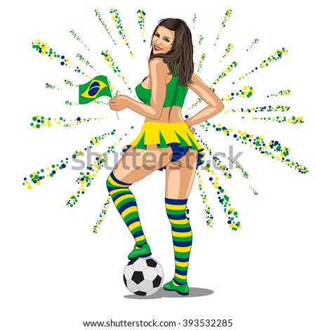Brasil Soccer Fan. sexy brasilian woman looks back and put her leg on soccer ball and smiles.  - stock vector