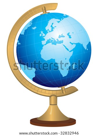Brass globe with hand drawn world map - stock vector
