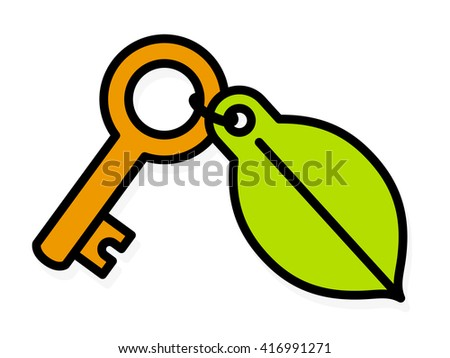 Brass key with a colorful green environment leaf tag attached by a small ring and a lock icon, cartoon vector illustration on white - stock vector