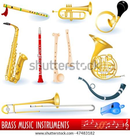 Brass musical instruments collection - stock vector