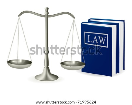 Brass scales of justice and law books . Vector illustration. - stock vector