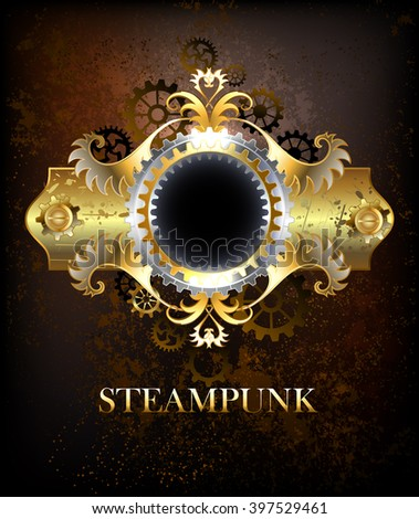 Brass Steampunk banner with gears and a pattern on an old, rusty, textured background. Steampunk design.