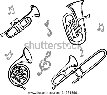 Brass Wind Instrument Set - Collection of sketch style vectorized from my hand drawn sketch