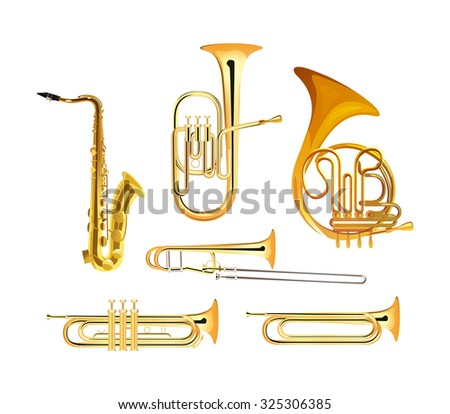 Brass Wind Orchestra Musical Instruments isolated on white, Vector Illustrations - stock vector