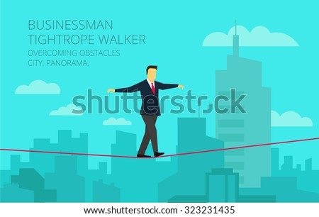 Brave businessman walking tightrope against the background of the panorama city. Symbolic crisis picture. - stock vector