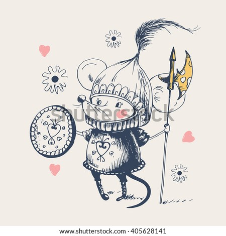 brave knight mouse.Hand drawn vector Illustration /can be used for kid's or baby's shirt design/fashion print design/fashion graphic/kids wear - stock vector