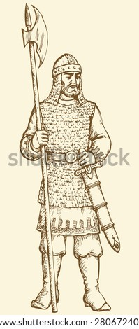 Brave noble bearded armour king defense combatant of Kyivan Rus chronological time period. Vector outline freehand ink drawn background sketchy in art antiquity style pen on paper with space for text - stock vector