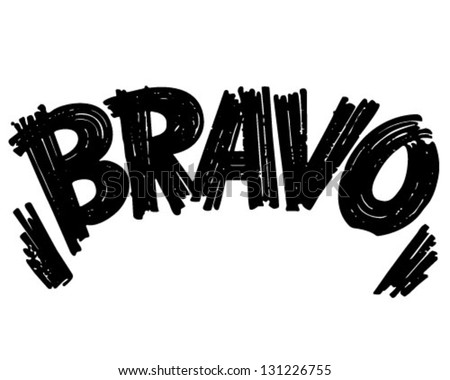 Bravo Header - Retro Clip Art Illustration - stock vector