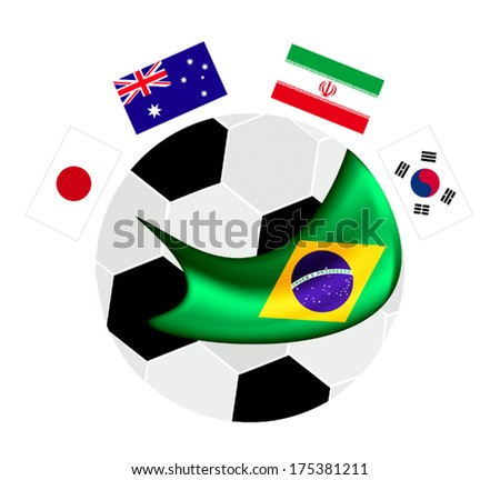 Brazil , An Illustration of The Flags of Asia Zone Countries Around A Soccer Ball of Football Championship Qualification in Brazil.  - stock vector