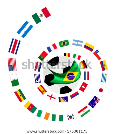 Brazil , An Illustration of The Flags of 32 Countries Around A Soccer Ball of of Football Championship in Brazil.  - stock vector