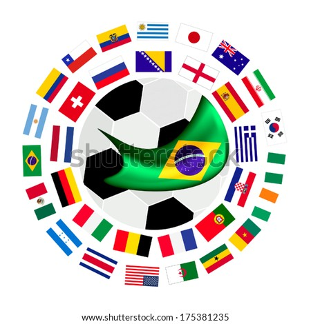 Brazil , An Illustration of The Flags of 32 Nations Around A Soccer Ball of of Football Championship in Brazil.  - stock vector