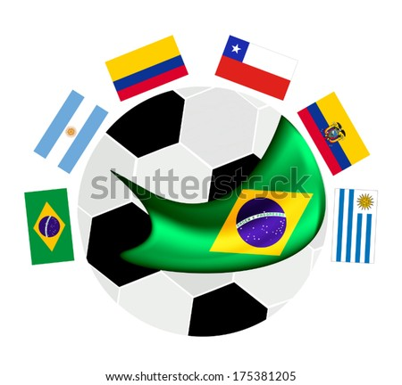 Brazil , An Illustration of The Flags of South America Zone Countries Around A Soccer Ball of of Football Championship Qualification in Brazil.