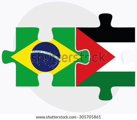 Brazil and Palestine Flags in puzzle isolated on white background